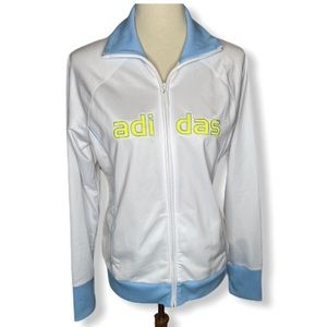 Adidas White w/ Baby Blue & Yellow Trim Jacket L